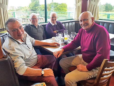 Tom McNulty (right) celebrates his 77th birthday